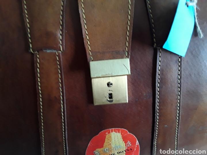 Antigüedades: Antiguo maletin de cuero tamaño grande - Foto 6 - 194593201