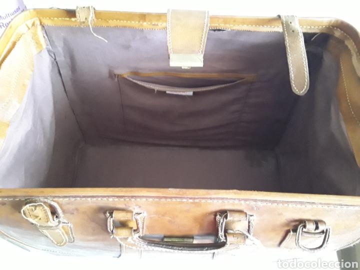 Antigüedades: Antiguo maletin de cuero tamaño grande - Foto 8 - 194593201