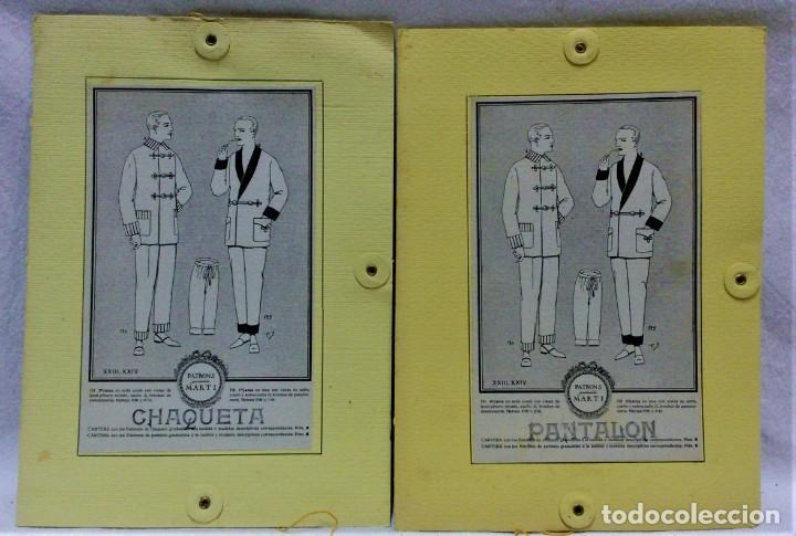 PATRONES GRADUABLES MARTÍ.PIJAMAS,CHAQUETA Y PANTALÓN.INSTRUCCIONES,2 CARPETAS Y 2 PATRONES (Antigüedades - Moda - Otros)