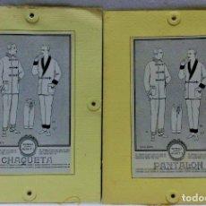 Antigüedades: PATRONES GRADUABLES MARTÍ.PIJAMAS,CHAQUETA Y PANTALÓN.INSTRUCCIONES,2 CARPETAS Y 2 PATRONES. Lote 194594951