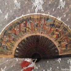 Antigüedades: ABANICO EN MADERA LACA CHINA. ESTILO MIL CARAS.. Lote 194595286