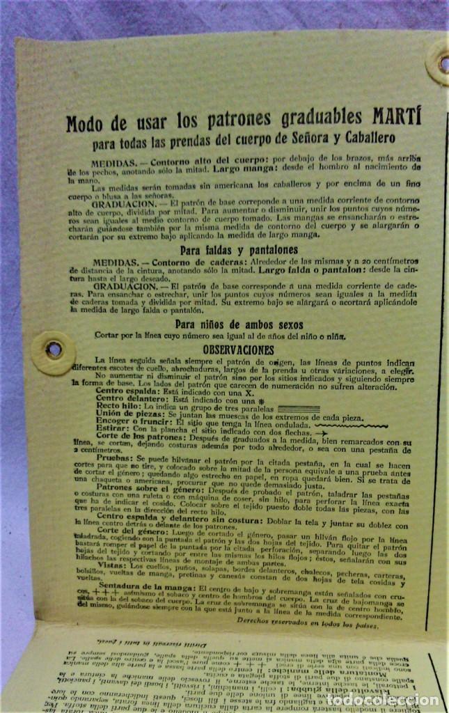 Antigüedades: PATRONES GRADUABLES MARTÍ.TRAJE DE MONTAR A CABALLO Y TRAJE DE CAZA.2 CARPETAS Y 2 PLANCHAS PATRONES - Foto 6 - 194595403
