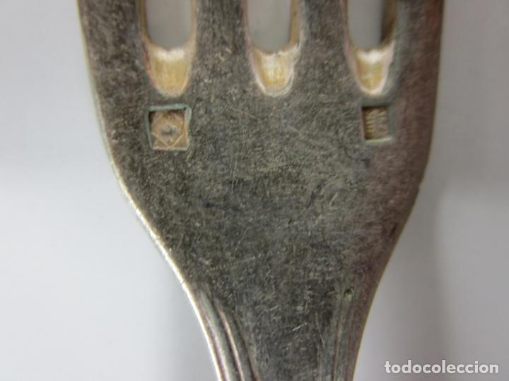 Antigüedades: Antigua Cubertería Plateada - Baño de Plata - 18 Piezas - Hoja Cuchillos Solingen - S. XIX - Foto 15 - 194600655