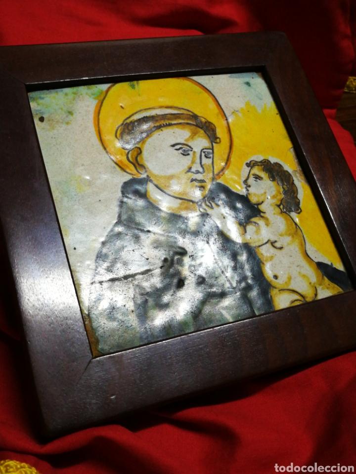 Antigüedades: ANTIGUO AZULEJO RAJOLA CERÁMICA CATALANA- SANT ANTONI DE PÀDUA, S.XVIII-XIX.13X13CM, ENMARCADA.RARO! - Foto 10 - 194603426