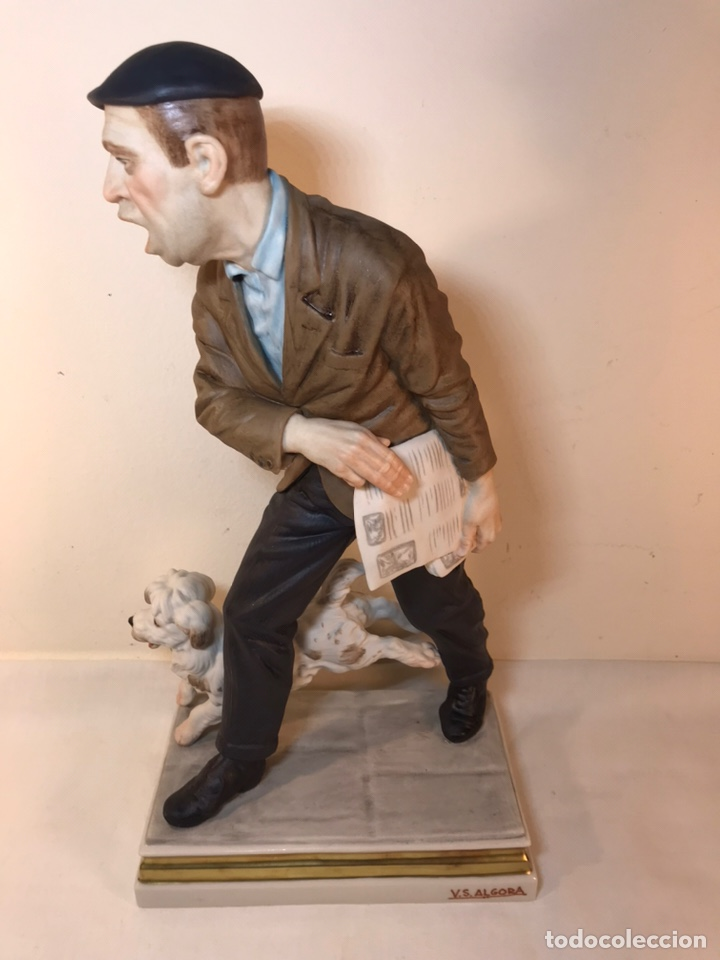 Antigüedades: Figura Porcelana- España- Algora - Vendedor de Periódicos (Oficios)- 29 cm - Foto 7 - 194605692
