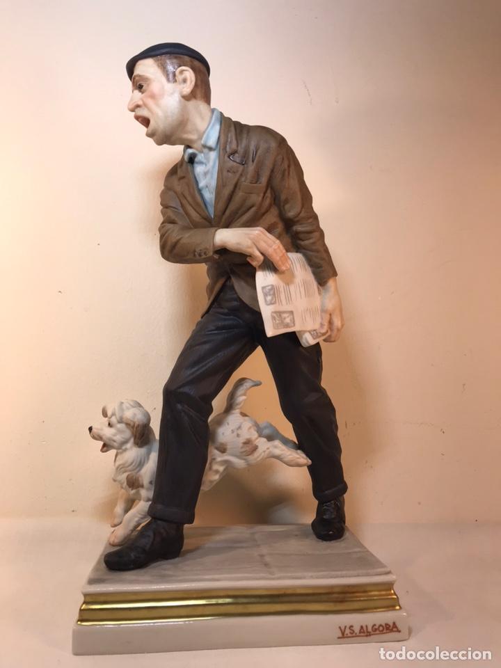 Antigüedades: Figura Porcelana- España- Algora - Vendedor de Periódicos (Oficios)- 29 cm - Foto 8 - 194605692
