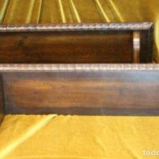 Antigüedades: DOS ANTIGUOS ESTANTES DE MADERA DE TEKA, 60 X 15 X 22 CM. Lote 194606405