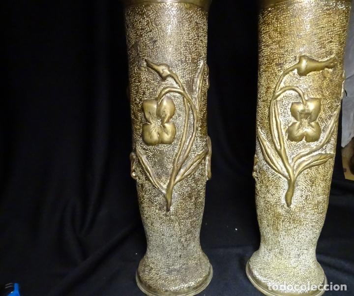 Antigüedades: Jarrones art nouveau.hechos de vainas de obus de la 1ª guerra mundial.Batalla Somme.Francia.Inglés - Foto 3 - 194608190