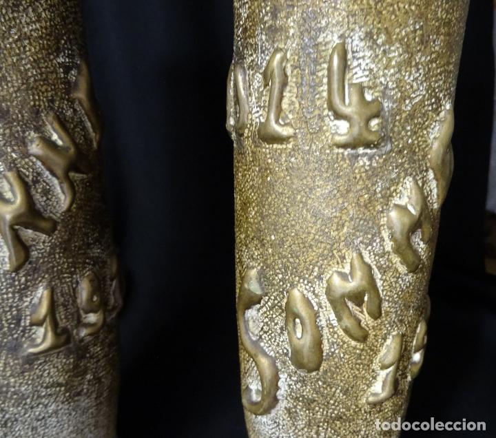 Antigüedades: Jarrones art nouveau.hechos de vainas de obus de la 1ª guerra mundial.Batalla Somme.Francia.Inglés - Foto 5 - 194608190