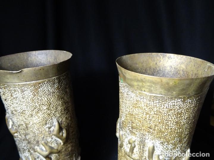 Antigüedades: Jarrones art nouveau.hechos de vainas de obus de la 1ª guerra mundial.Batalla Somme.Francia.Inglés - Foto 7 - 194608190