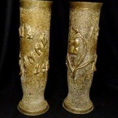 Antigüedades: JARRONES ART NOUVEAU.HECHOS DE VAINAS DE OBUS DE LA 1ª GUERRA MUNDIAL.BATALLA SOMME.MODERNISTA.. Lote 194608190