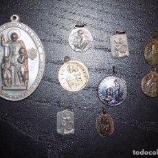 Antigüedades: LOTE DE 9 MEDALLITAS RELIGIOSAS. Lote 194610026