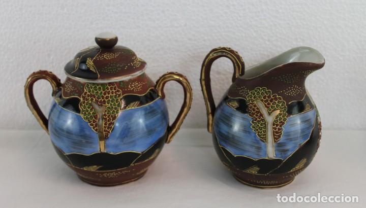 Antigüedades: JUEGO DE CAFÉ DE 4 SERVICIOS EN PORCELANA PINTADA A MANO - SATSUMA JAPÓN - PRINCIPIOS SIGLO XX - Foto 6 - 194611042