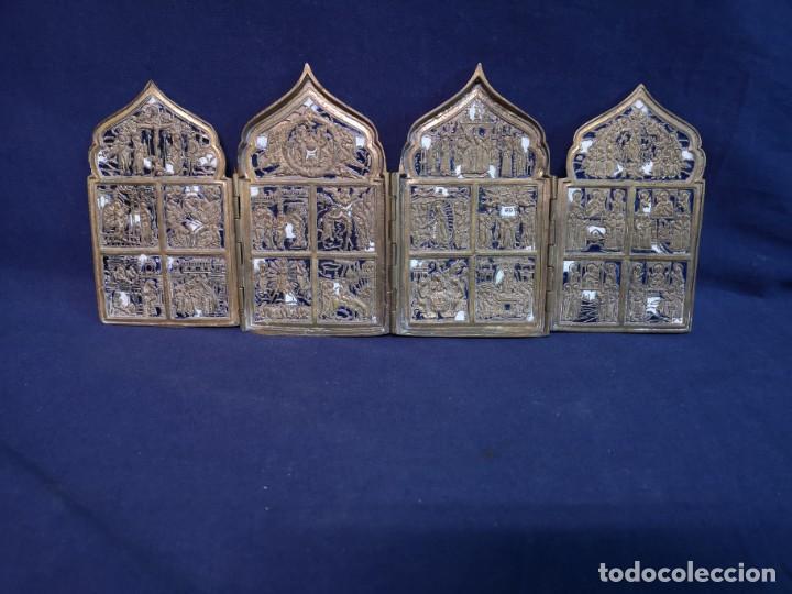 ICONO VIAJE DE CUATRO HOJAS RUSO ANTIGUO (Antigüedades - Religiosas - Cruces Antiguas)