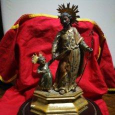 Antigüedades: INCREÍBLE TALLA DE MADERA POLICROMADA BARROCA SAN JOSÉ Y NIÑO JESÚS, S. XVIII CON MÉNSULA Y PEANA.. Lote 194614885