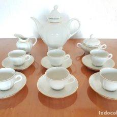 Antigüedades: JUEGO DE CAFÉ BIDASOA BANDA DE ORO, 6 SERVICIOS. Lote 194618033