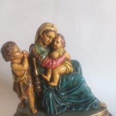 Antigüedades: VIRGEN MARÍA CON JESÚS NIÑO EN BRAZOS Y PASTOR.. Lote 194633333