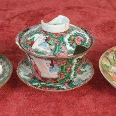 Antigüedades: CONJUNTO DE TAZA Y BOL PARA TE. PORCELANA CHINA. FAMILIA ROSA. CANTÓN. SIGLO XIX. Lote 194651980