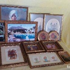 Antigüedades: GRAN LOTE DE MARCOS DE MADERA AL ORO, CON DIVERSAS IMÁGENES, DIFERENTES TAMAÑOS Y ESTILOS. Lote 194657516