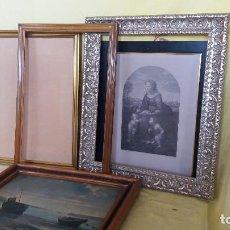 Antigüedades: LOTE DE 4 MARCOS DE MADERA DE FORMATO GRANDE - MEDIO, UNO CON LITOGRAFÍA. Lote 194658440