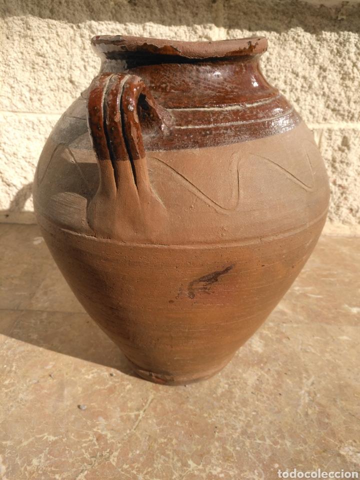 Antigüedades: Alfarería Antigua orza tinaja ceramica popular catalana vidriada dos asas posible Figueres - Bisbal - Foto 4 - 194661400