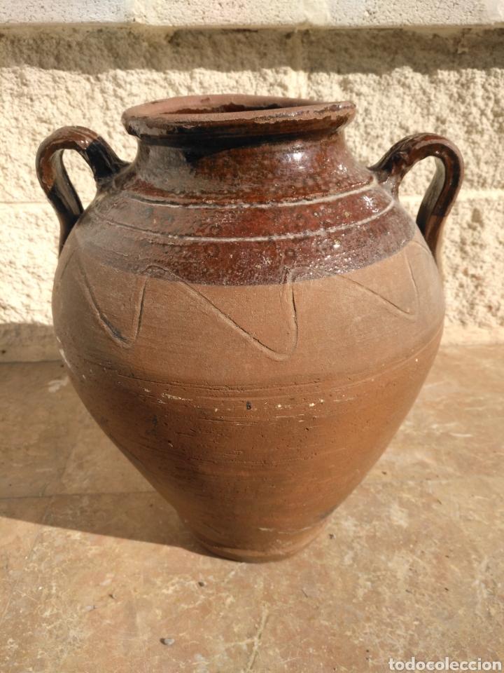 Antigüedades: Alfarería Antigua orza tinaja ceramica popular catalana vidriada dos asas posible Figueres - Bisbal - Foto 2 - 194661400