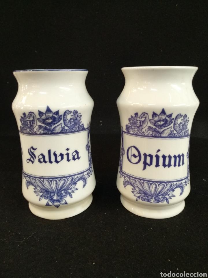 CONJUNTO DE ALBARELOS / TARROS. OPIUM Y SALVIA. CERÁMICA ISARD. (Antigüedades - Porcelanas y Cerámicas - Catalana)