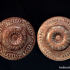 Antigüedades: PAREJA DE PLATOS DE CERÁMICA REFRACTARIOS. Lote 194668708