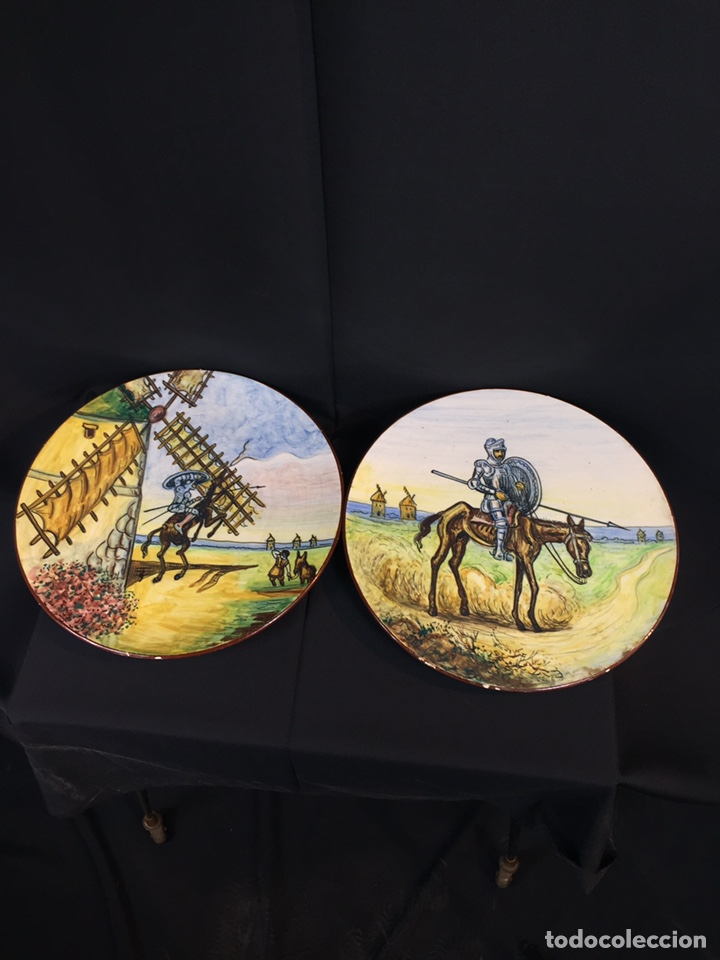 Antigüedades: Platos cerámica (talavera) DonQuijote - Foto 2 - 194669170
