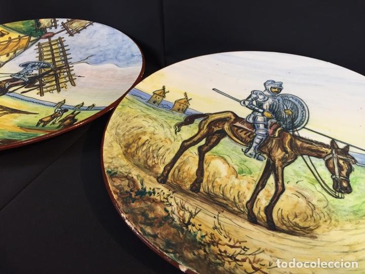 Antigüedades: Platos cerámica (talavera) DonQuijote - Foto 3 - 194669170