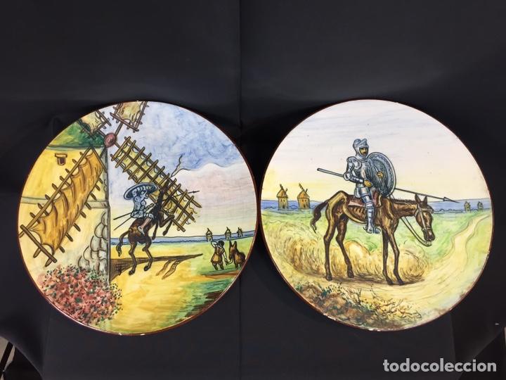 Antigüedades: Platos cerámica (talavera) DonQuijote - Foto 4 - 194669170