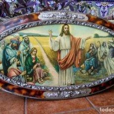 Antigüedades: MARCO ANTIGUO CON LÁMINA O LITOGRAFÍA DE JESÚS CON LOS APOSTOLES. Lote 194674705