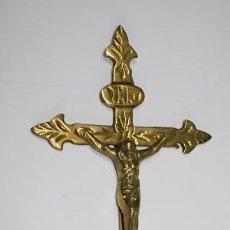 Antigüedades: 2,, ANTIGUO RARO CRUCIFIJO DE LATON CRISTO EN LA CRUZ PIEZA DE COLECCION. Lote 194676240