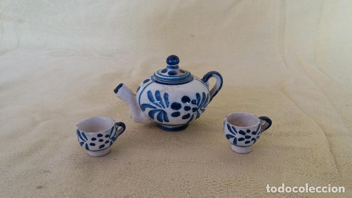 PEQUEÑO JUEGO DE TÉ, TÚ Y YO, DE BARRO COCIDO, HECHO Y PINTADO A MANO (Antigüedades - Porcelanas y Cerámicas - Otras)