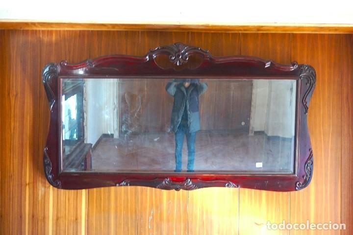 ESPEJO HORIZONTAL GRANDE DE MADERA MODERNISTA (Antigüedades - Muebles Antiguos - Espejos Antiguos)