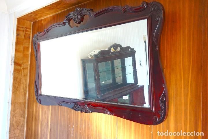 Antigüedades: Espejo horizontal grande de madera modernista - Foto 2 - 194680250