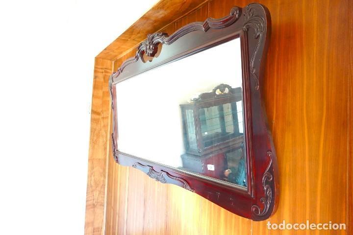 Antigüedades: Espejo horizontal grande de madera modernista - Foto 3 - 194680250