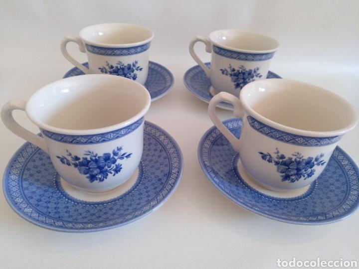 Antigüedades: 4 tazas desayuno con plato Churchill Queens - Foto 3 - 194686026