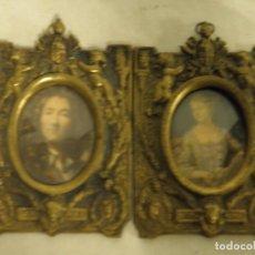 Antigüedades: PAREJA DE MARCOS DE BRONCE. Lote 194689266