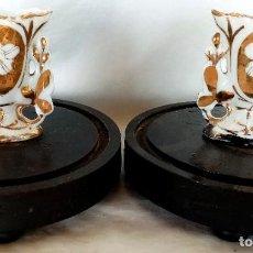 Antigüedades: PAREJA DE JARRONES PEQUEÑOS ISABELINOS S XIX. Lote 194692055
