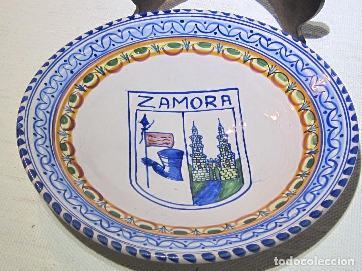 Antigüedades: Plato Porcelana decorativo Talavera. ZAMORA. 29 x 6 cm. - Foto 2 - 194701137
