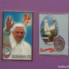 Antigüedades: LOTE 2 RELICARIOS BENEDICTO XVI Y LA VIRGEN DE FATIMA AMBAS CON MEDALLA AÑOS 2007/08 RESPECTIVAMENTE. Lote 194703706