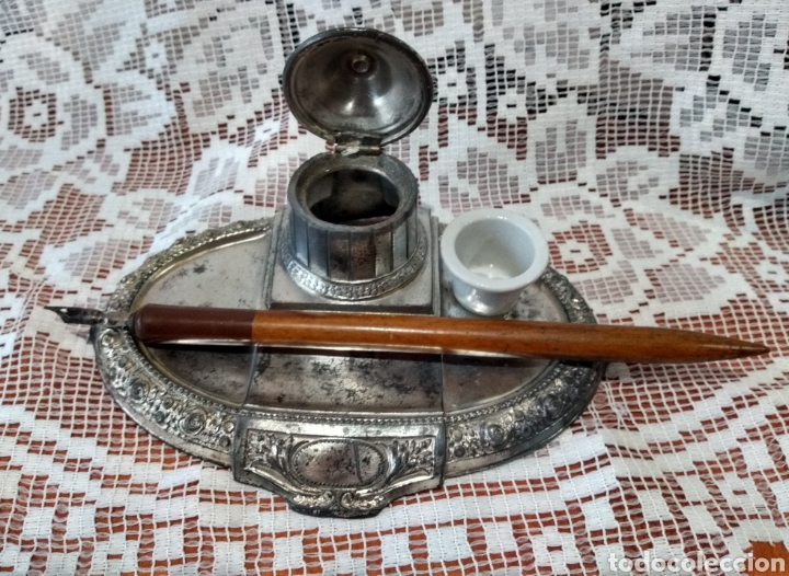 Antigüedades: MUY DIFÍCIL ( JUEGO ESCRIBANÍA METAL, PLUMA MADERA PLUMÍN RECAMBIABLE ).MÁS PLUMAS ANTIG. MI PERFIL - Foto 3 - 194708140
