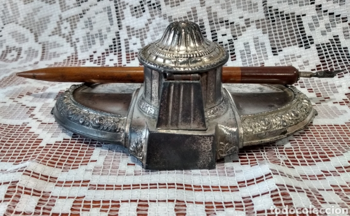 Antigüedades: MUY DIFÍCIL ( JUEGO ESCRIBANÍA METAL, PLUMA MADERA PLUMÍN RECAMBIABLE ).MÁS PLUMAS ANTIG. MI PERFIL - Foto 5 - 194708140