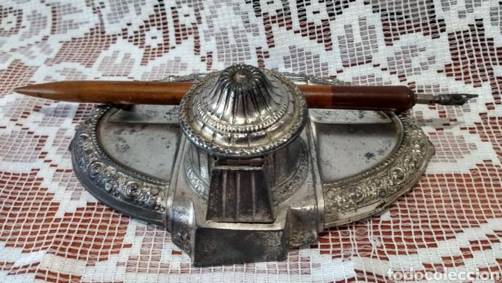 Antigüedades: MUY DIFÍCIL ( JUEGO ESCRIBANÍA METAL, PLUMA MADERA PLUMÍN RECAMBIABLE ).MÁS PLUMAS ANTIG. MI PERFIL - Foto 6 - 194708140