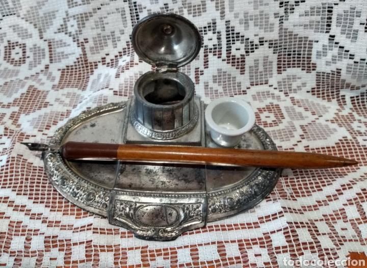 Antigüedades: MUY DIFÍCIL ( JUEGO ESCRIBANÍA METAL, PLUMA MADERA PLUMÍN RECAMBIABLE ).MÁS PLUMAS ANTIG. MI PERFIL - Foto 9 - 194708140