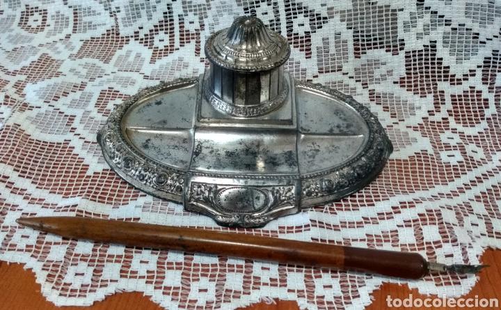 Antigüedades: MUY DIFÍCIL ( JUEGO ESCRIBANÍA METAL, PLUMA MADERA PLUMÍN RECAMBIABLE ).MÁS PLUMAS ANTIG. MI PERFIL - Foto 10 - 194708140
