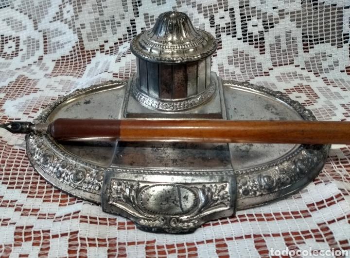 Antigüedades: MUY DIFÍCIL ( JUEGO ESCRIBANÍA METAL, PLUMA MADERA PLUMÍN RECAMBIABLE ).MÁS PLUMAS ANTIG. MI PERFIL - Foto 13 - 194708140