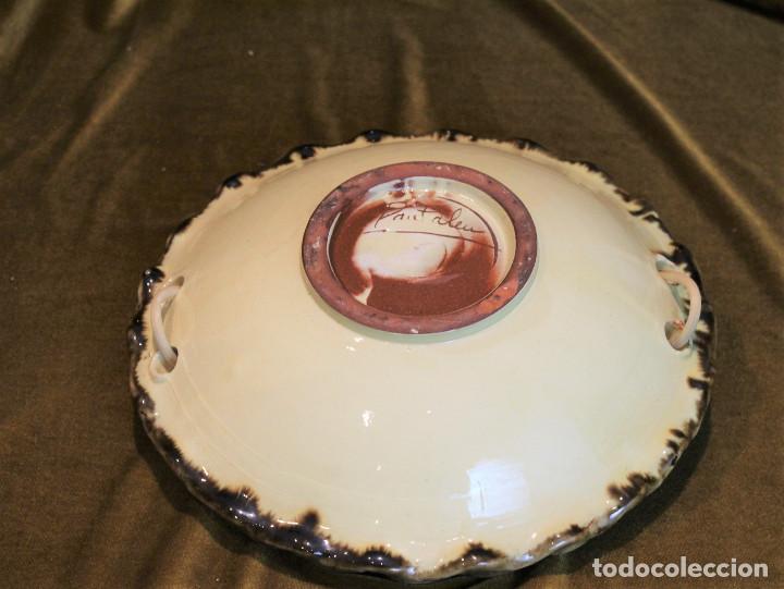 Antigüedades: Cesta frutero cerámica de La Bisbal,asa de mimbre. - Foto 4 - 194710663