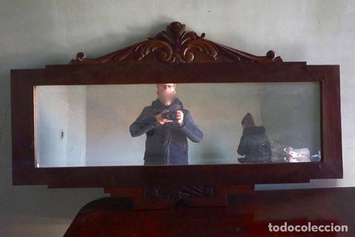 ESPEJO HORIZONTAL GRANDE DE MADERA MODERNISTA ANTIGUO SALON PASILLO (Antigüedades - Muebles Antiguos - Espejos Antiguos)